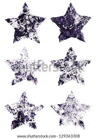grunge set of stars - stock photo