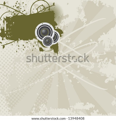 Grunge shield / banner with speakers, halftone, and paint splatters on grungy background with plenty of space for copy to be added. - stock photo