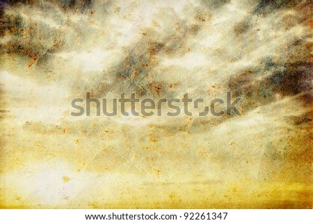 Grunge sky sunset on paper - stock photo