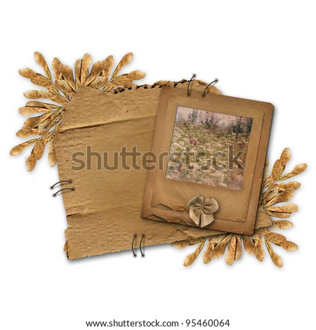 Grunge slide on the old alienated cardboard with foliage - stock photo