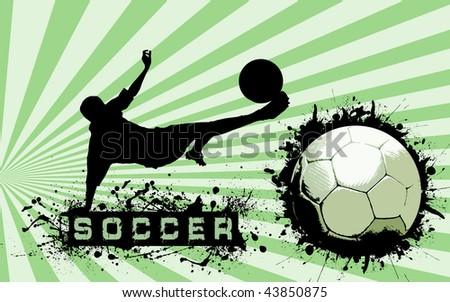 Grunge Soccer Ball background - stock photo