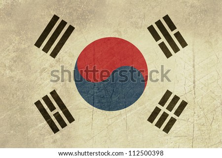 Grunge sovereign state flag of country of South Korea in official colors. - stock photo