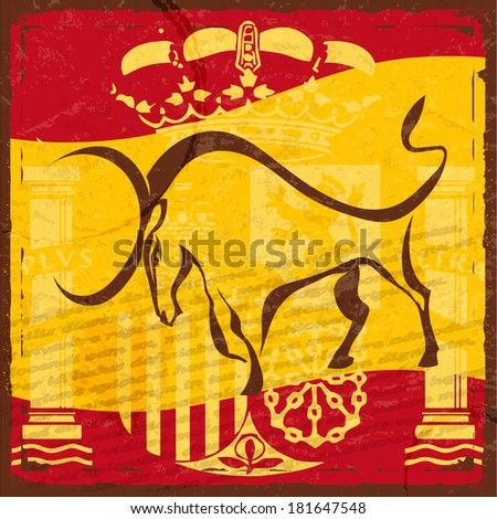 Grunge Spanish flag with the emblem and the silhouette of a black bull - stock photo