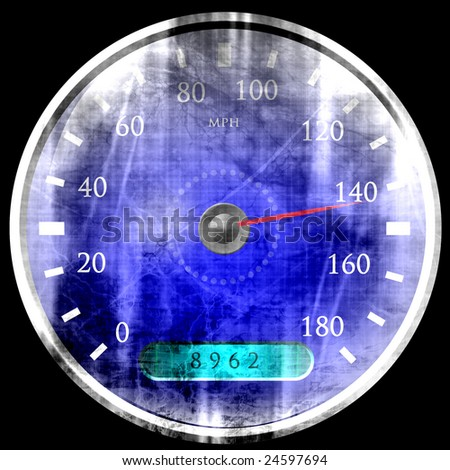 grunge speedometer on a solid black background - stock photo