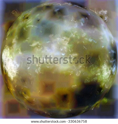 Grunge spherical texture. With different color patterns: yellow (beige); brown; blue; green - stock photo