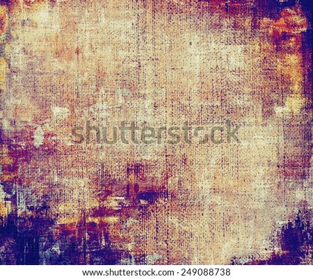 Grunge stained texture, distressed background with space for text or image. With different color patterns: yellow (beige); brown; purple (violet); blue; red (orange) - stock photo
