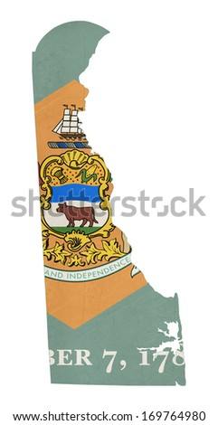 Grunge state of Delaware flag map isolated on a white background, U.S.A. - stock photo