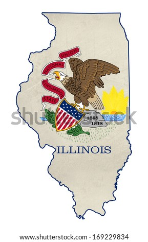 Grunge state of Illinois flag map isolated on a white background, U.S.A.  - stock photo