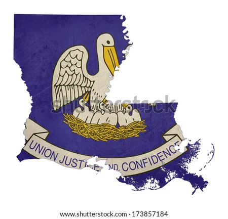 Grunge state of Louisiana flag map isolated on a white background, U.S.A. - stock photo