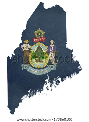 Grunge state of Maine flag map isolated on a white background, U.S.A. - stock photo