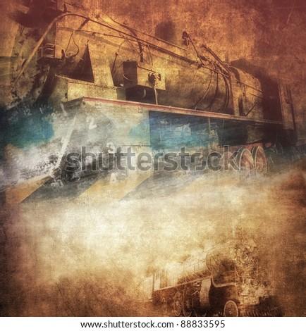 Grunge steam locomotive, vintage background - stock photo
