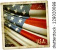 Grunge sticker of USA - stock photo