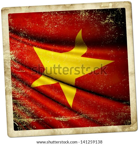 Grunge sticker Vietnam flag - stock photo