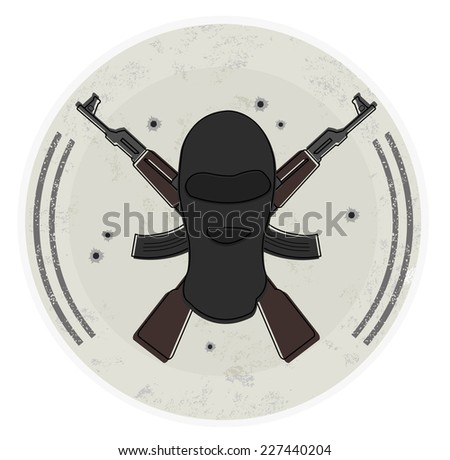 Grunge stone terrorist logo with balaclava mask and 2 crossed rifles. Bullet holes. Illustration isolated on white  - stock photo