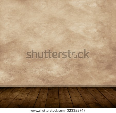 Grunge stone wall and hardwood floor. Copyspace