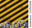 Grunge striped cunstruction background  and gears  Raster version  illustration - stock photo