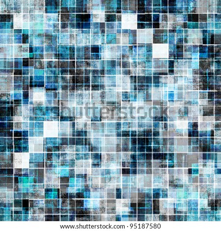 grunge style cool blue mosaic background - stock photo