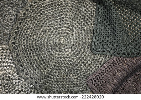 Grunge style decoration with old handmade crochet doilies over wooden background. Sweet composition for your design. - stock photo