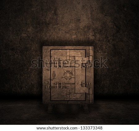 Grunge style image of a room interior with safe