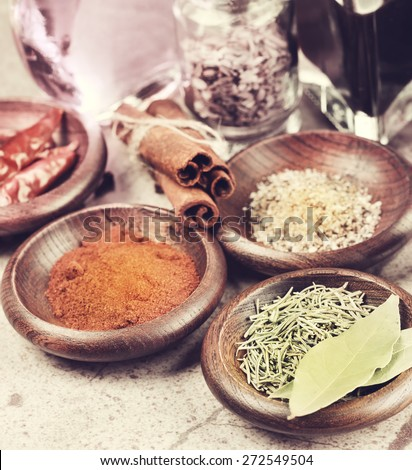Grunge Style Of Spices Assortment - stock photo