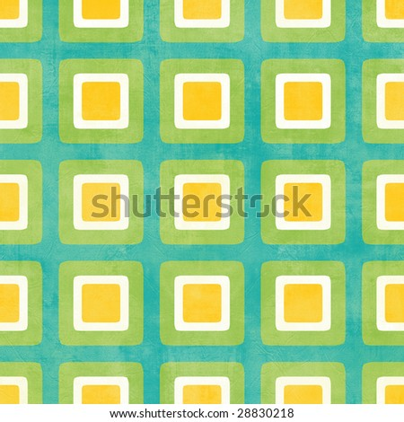 Grunge style retro pattern with rounded squares in green, white and yellow