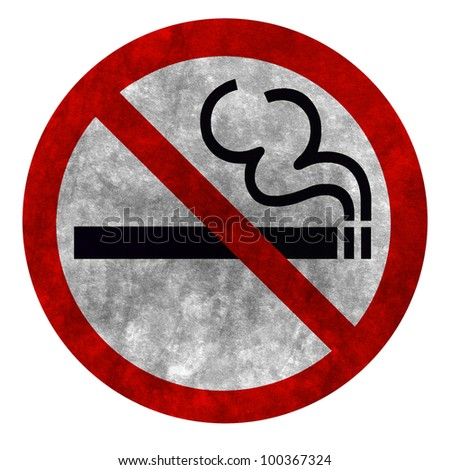 grunge style Symbol of No Smoking Zone Sign isolated on White with clipping path - stock photo