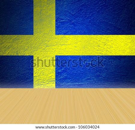 grunge Sweden flag background and wooden floor - stock photo
