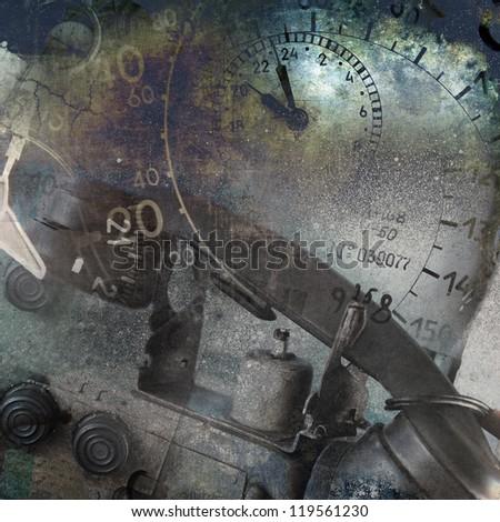 Grunge technology background - stock photo