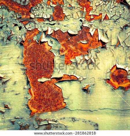 Grunge texture background. Old paint texture. Rusty metal with peeling paint. Abstract painting. - stock photo