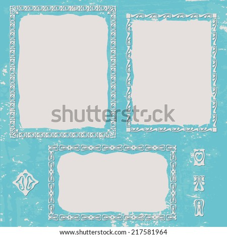 Grunge texture blue background. Set ornament frame - stock photo