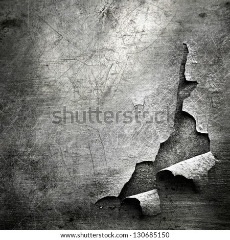 grunge  texture of teared metal sheet; abstract background - stock photo