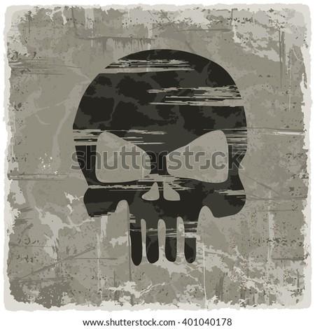 Grunge texture vintage background with skull. Raster version. - stock photo