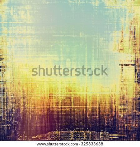 Grunge texture with decorative elements and different color patterns: yellow (beige); brown; blue; purple (violet) - stock photo