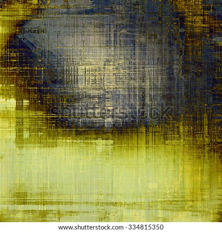 Grunge texture with decorative elements and different color patterns: yellow (beige); brown; gray; blue - stock photo