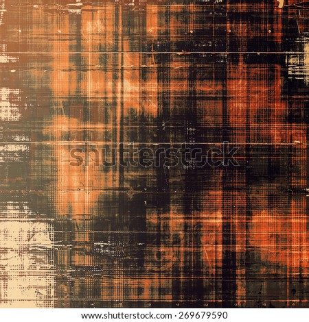 Grunge texture with decorative elements and different color patterns: yellow (beige); red (orange); brown; black - stock photo