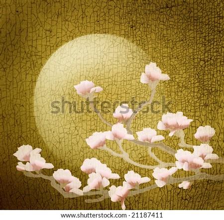 grunge texture with floral pattern - stock photo