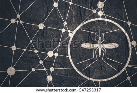 Grunge textured backdrop. Medical industry, biotechnology and biochemistry concept. Scientific medical designs. Mosquito icon. Connected lines with dots.