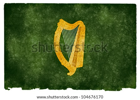 Grunge textured flag of Leinster Province (Ireland) on vintage paper - stock photo