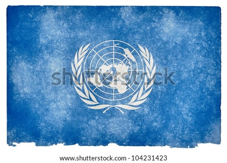 Grunge textured flag of the United Nations on vintage paper
