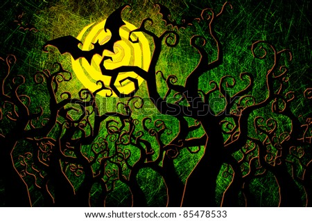 Grunge textured Halloween night background - stock photo