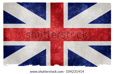 Grunge textured historical flag of the British Union on vintage paper (more specifically the British Union from 1606-1801)