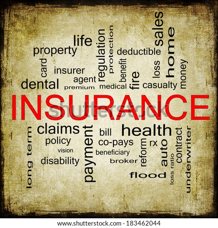 Grunge textured Insurance Word Cloud Concept with great terms such as and more. - stock photo