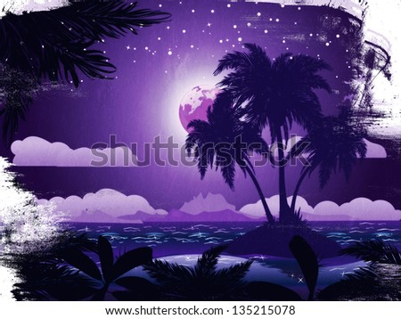 Grunge tropical island at night under starry sky background. - stock photo