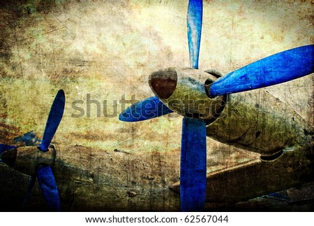 Grunge turboprop engines, military aircraft - stock photo