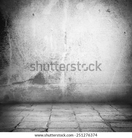 grunge urban background old wall texture and sidewalk, interior background - stock photo