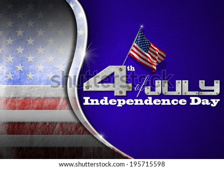 """Grunge US flag on blue velvet background with metallic curve and inscription: """"4th of July - Independence Day"""" - stock photo"""