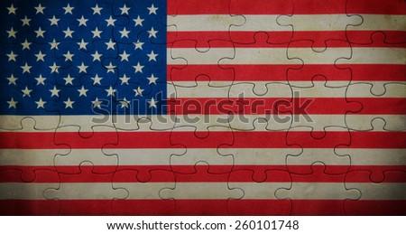 Grunge USA flag background - stock photo