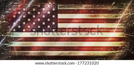 Grunge USA Flag, old american flag background