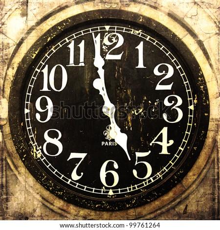 Grunge Vintage Clock - stock photo