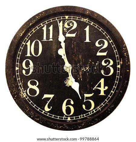 Grunge Vintage Clock Isolated on white - stock photo